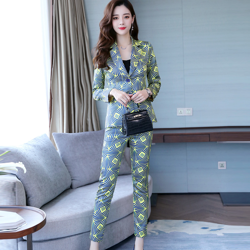 Famous Yuan Hong Kong style new women's wear professional suit printed small suit trousers show thin two-piece fashion 20