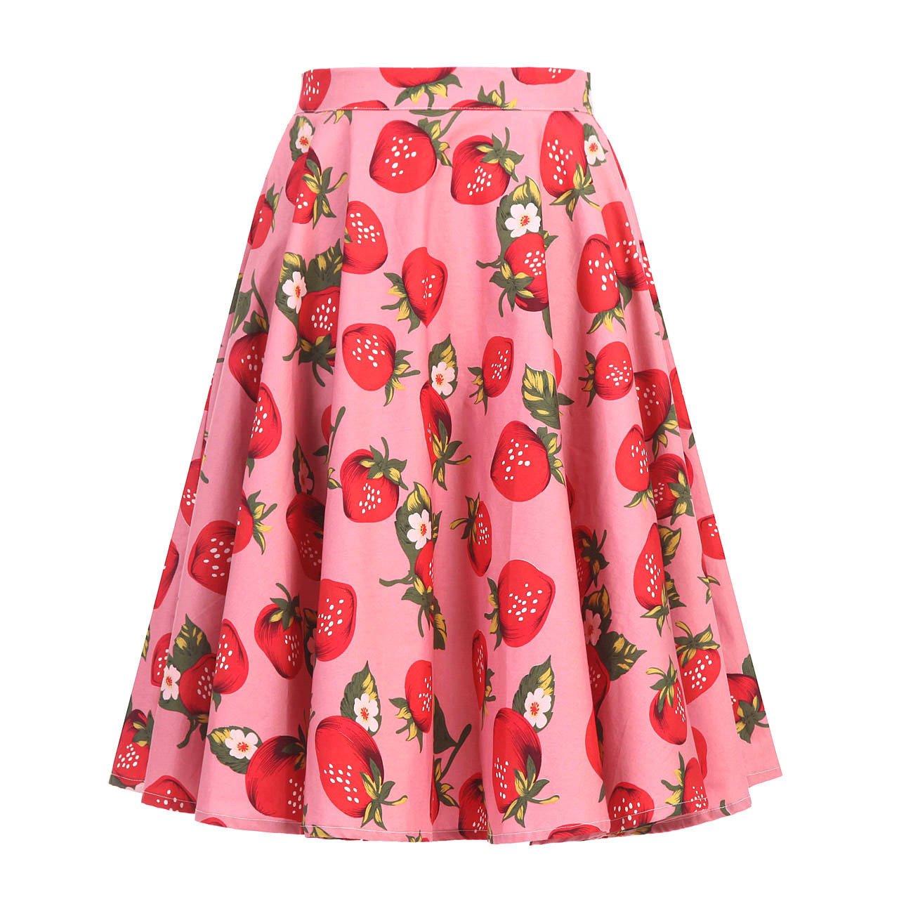 Rockabilly Big Swing 50s Floral Vintage Skirt Plus Size Women Summer Blue White Black Cherry Print Polka Dots High Waist Skirts image