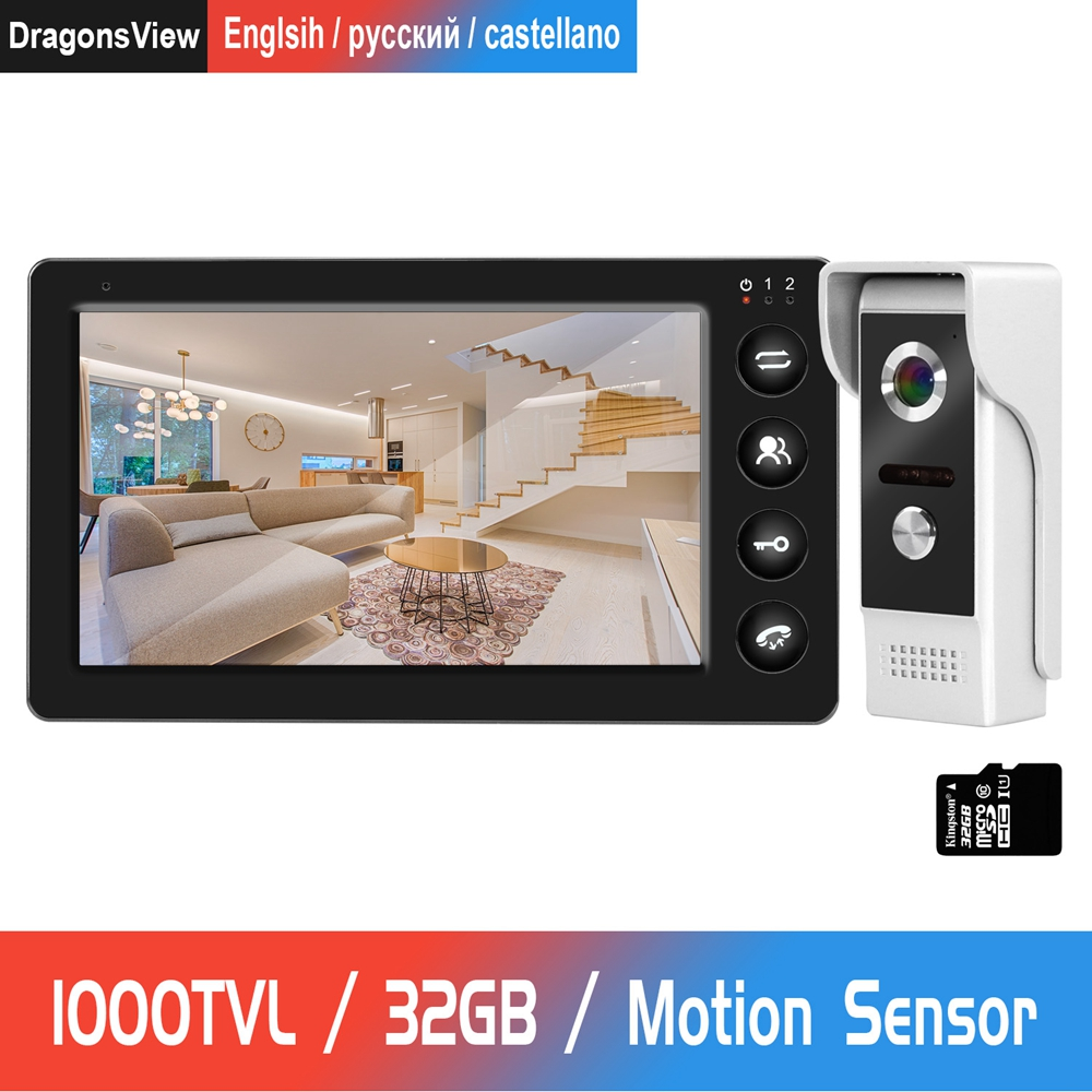 Door Intercom Wired Video Door Phone with Motion Detection Record for Home HD IR Video Doorbell Support CCTV Camera And unlock