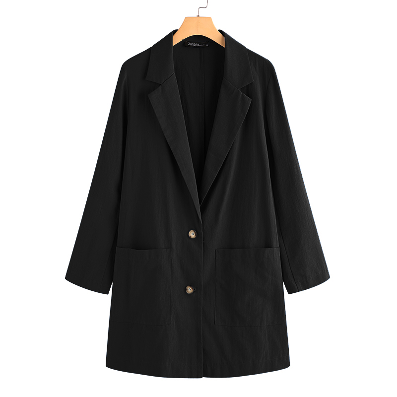 Fashion ZANZEA Women's Single Button Blazers 2020 Casual Long Sleeve OL Coats Outwears Female Solid Blazer Plus Size Cotton Tops