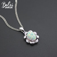 Bolai new white opal pendant 925 sterling silver created gemstone fine jewelry elegant necklace for women gift free chain