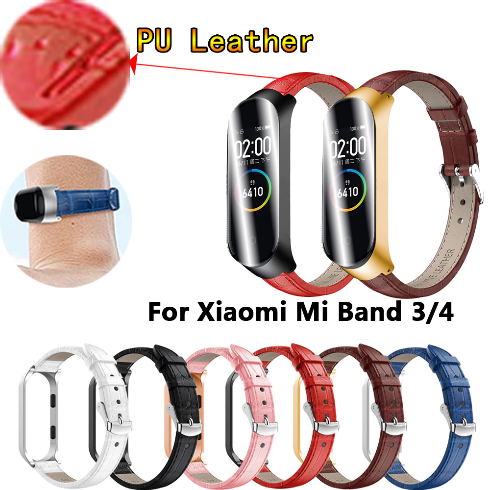 For Mi Band 4 Genuine Leather Strap For Xiaomi Mi Band 3 Bracelet Wristband Smart Watch Miband 4 NFC Accessories Wrist Straps
