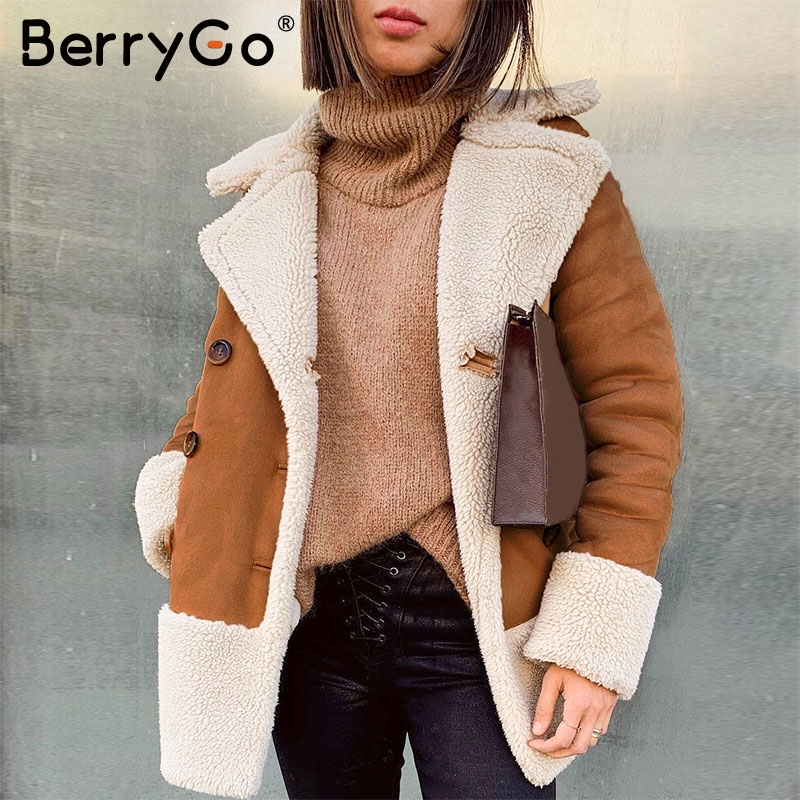 BerryGo Vintage Suede Grunge Fur Coat Women Autumn Winter Buttons Pockets Female Overcoat Streetwear Ladies Fashion Jackets