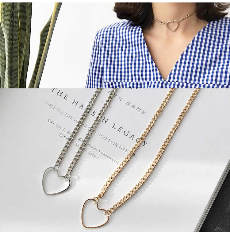 1PC Hollow Heart Choker Necklaces For Women Clavicle Colar Statement Necklace Collares Heart Dainty Pendant Necklace Gift