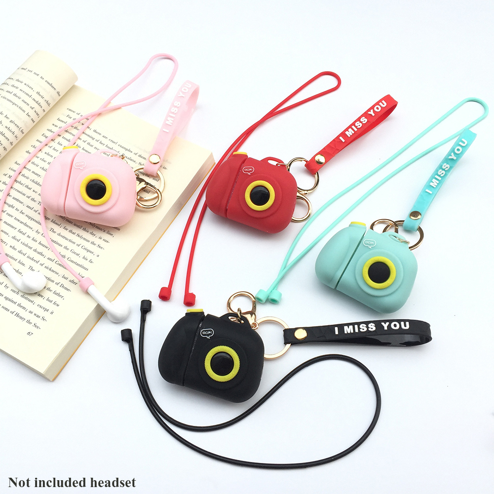 Portable Camera Shape Cute Protective Case Set Fashion Silicone Anti Lost Gift Soft With Keychain Shockproof For Apple Earphone