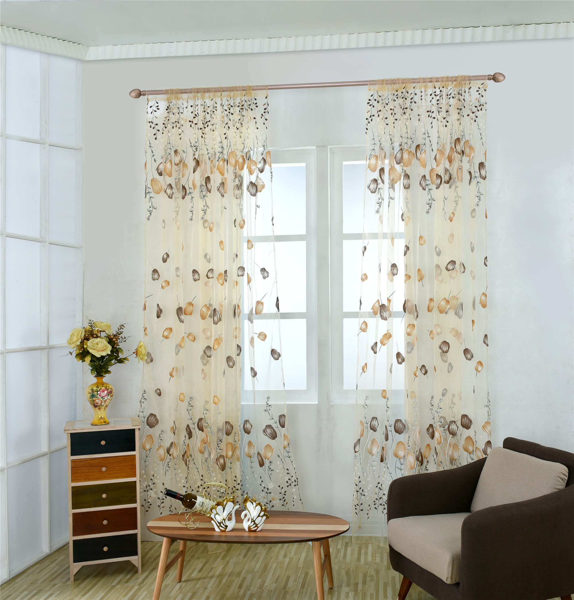 1PC Sheer Voile Tulle for Bedroom Living Room Balcony Kitchen Printed Tulip Pattern shade curtains Rod Type Roman voile curtains in Curtains from Home Garden