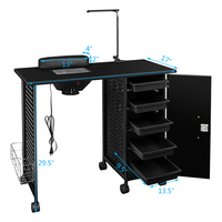 Giantex Manicure Nail Table Station Black Steel Frame Beauty Spa Salon Equipment Drawer Salon Furniture