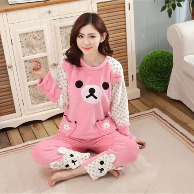 Winter Coral Velvet Pajamas Women's Winter Thick Warm Flannel Biscuit Bear Cartoon Tracksuit Long-sleeve Suit