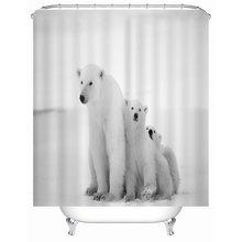 Занавеска для душа с принтом белого медведя на льду для ванной комнаты, занавеска для душа с принтом, ковровое покрытие, коврик для ванной комнаты, набор ковриков