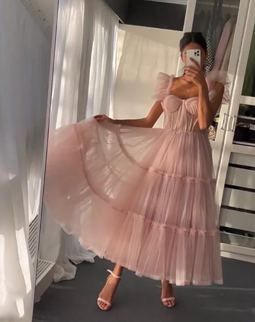 Sevintage Simple Light Pink Short Prom Dresses Spaghetti Straps Tiered Tulle Prom Gowns Sweeheart Tea-Length Wedding Party Dress 2