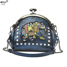 Embroidery Elephant Kiss Lock Shell Bags PU Leather Chain Women Shoulder Crossbody Bag 48 pcs Insert Diamonds Womens Handbags