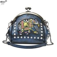 Ricamo elefante bacio blocco borse a conchiglia catena in pelle PU borsa a tracolla a spalla da donna 48 pezzi inserisci diamanti borse da donna