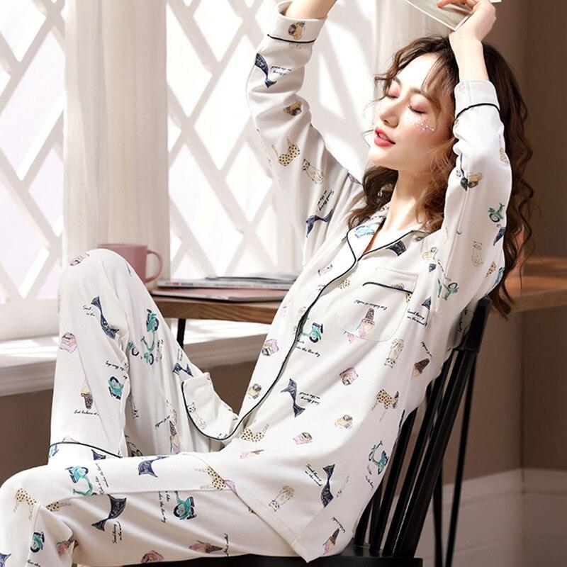 Spring And Autumn Pajamas Women's Cotton Long Sleeve Suit Leisurewear Thin Homewear Set