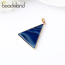 Beadsland Metal Edged Triangle Design Smooth Natural Stone Pendant For DIY Necklace Woman Girl Gift 40418