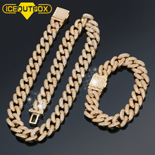 13mm Miami Brass Necklace Cuban Chain Bracelet Set Iced Out Rhinestone Men Hip Hop Jewelry With Gift Box Drop Shipping
