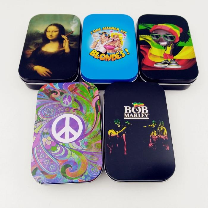 1pcs Fashion Tin Storage Box Tobacco Box Humidor Rolling Paper Box Cigarette Case Box Holder