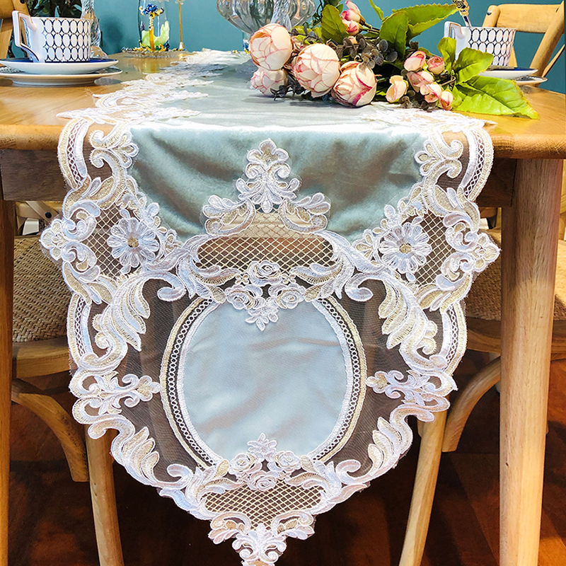 Mega Sale 4617 European New Lace Table Runner Embroidered
