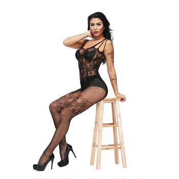 Sexy Lace Lingerie Bodysuit Open Crotch Fishnet Body Stockings Women Hollow Out Transparent Exotic Costume Teddy
