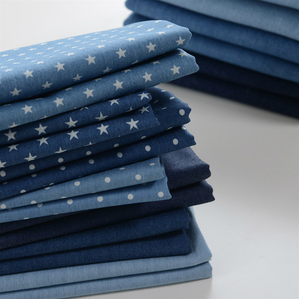 145X50cm Thickness Sand Wash Blue Washed Denim Fabric Cotton Pants Clothes Fabric Eco-Bag cloth