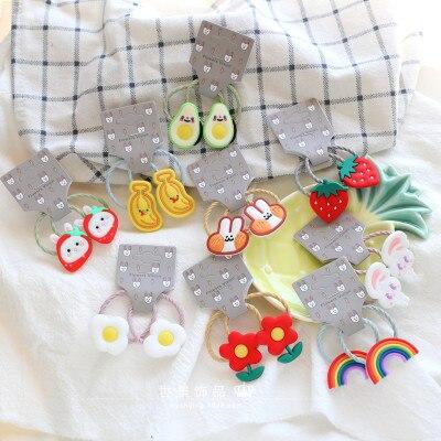 2PCS New Cute Cartoon Fruit Rainbow Princess Headwear Kids Elastic Hair Bands Children Ropes Girls Accessories Baby Headdress