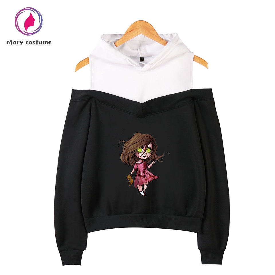 Creepypasta Style 2D Off-The-Shoulder Sweatshirt Women Hooded Sweatshirt Hot Casual Wear Trendy Leisure Women Hoodies