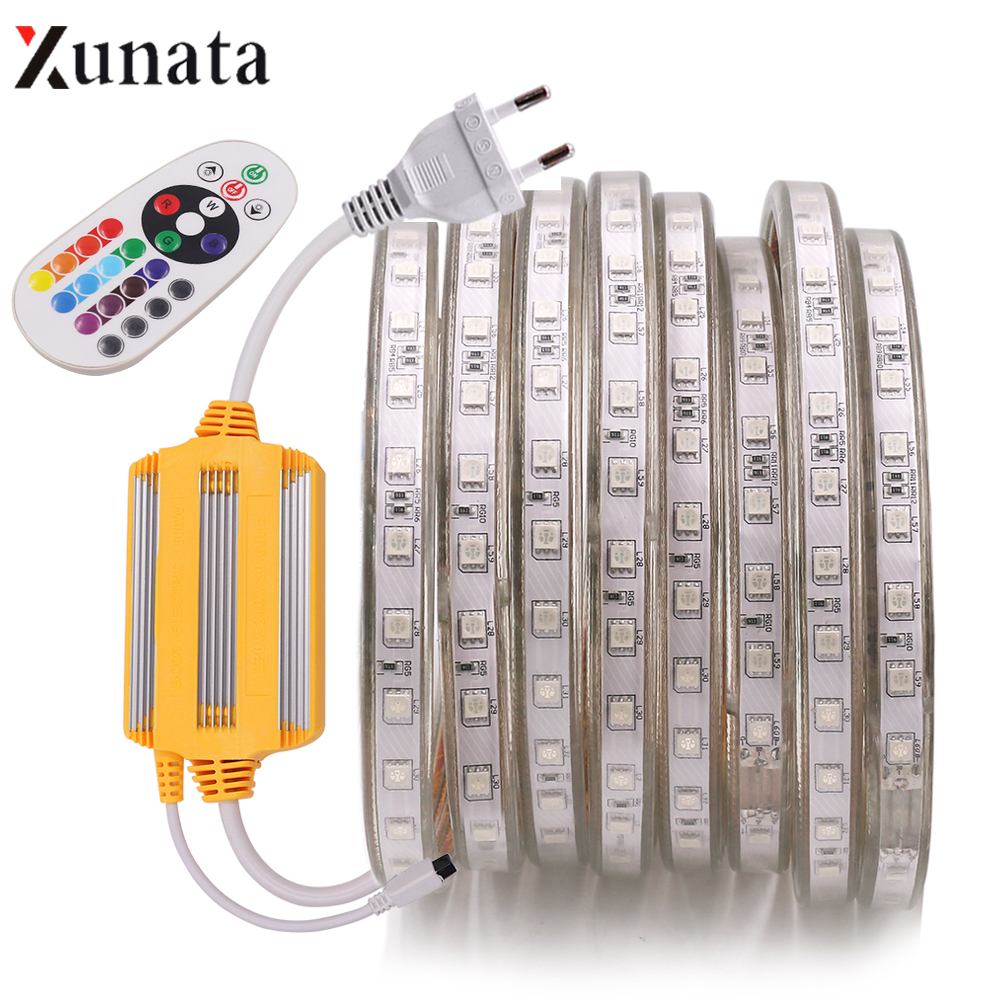 AC 220V RGB LED Strip Light Flexible LED Tape SMD5050 60LEDs/M Waterproof LED Ribbon With 1500W IR Remote Controller EU Plug