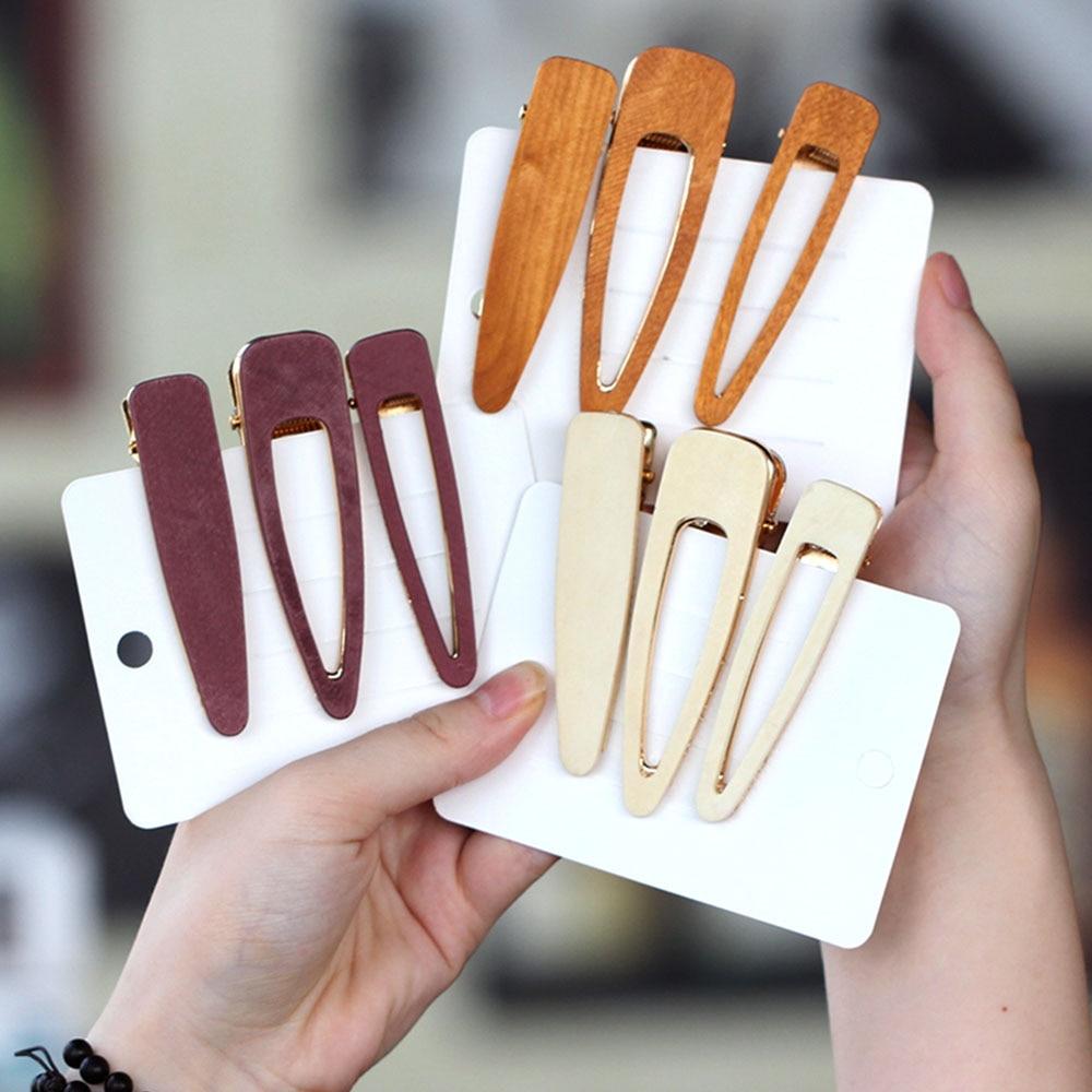 2019 New Design Hollow Geometric Wood Waterdrop Hair Clips For Women Girls Vintage Handmade Hairpins Barrettes Hair Accessories