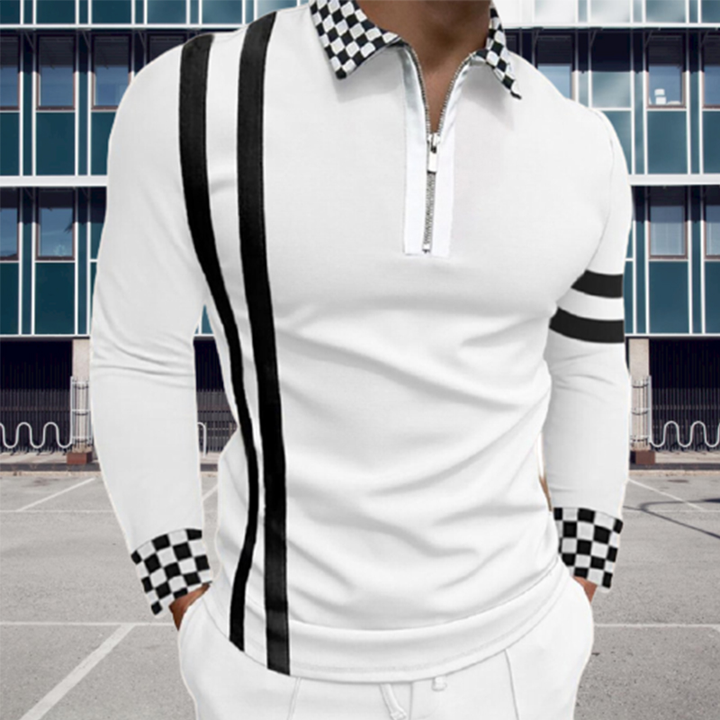 Fashion Patchwork Striped Long Sleeve Tops Male Casual Zip-up Turn-down Collar Polo Shirts Vintage Casual Men's Slim Polo Shirt