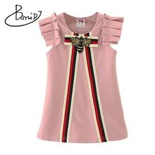 2018 Party Wedding O neck Tops Vestidos Infant Children Clothes Retail Kids Girls Dresses 3 7T Princess Girl Striped Bow Dress
