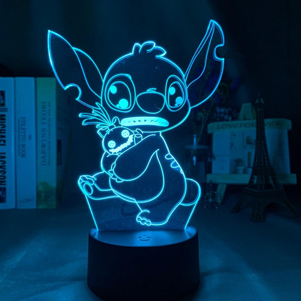 Детский Ночной светильник, стежка, объятия, Scrump, детский Декор для спальни, Ночной светильник, светодиодная цветная прикроватная лампа, Лило и Стич, подарок, Прямая поставка