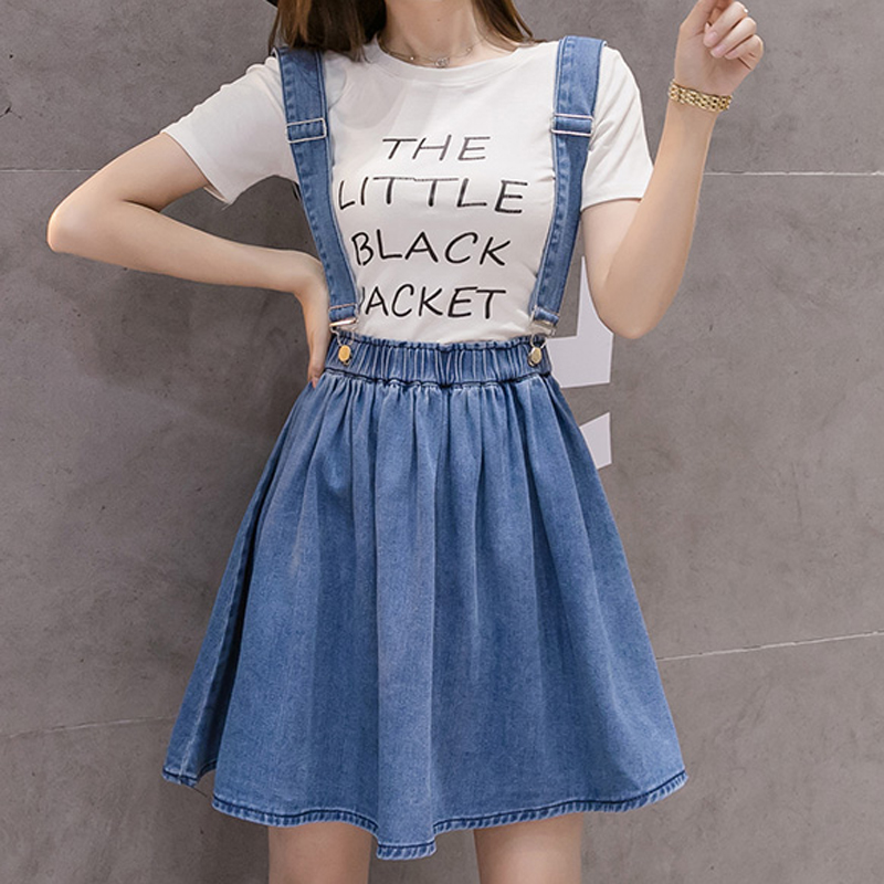 Women Denim Skirt Suspender Jumper Adjustable-Strap Plus-Size High-Waist Jean Skirt Fashion Ladies Casual Student A-Line Skirt