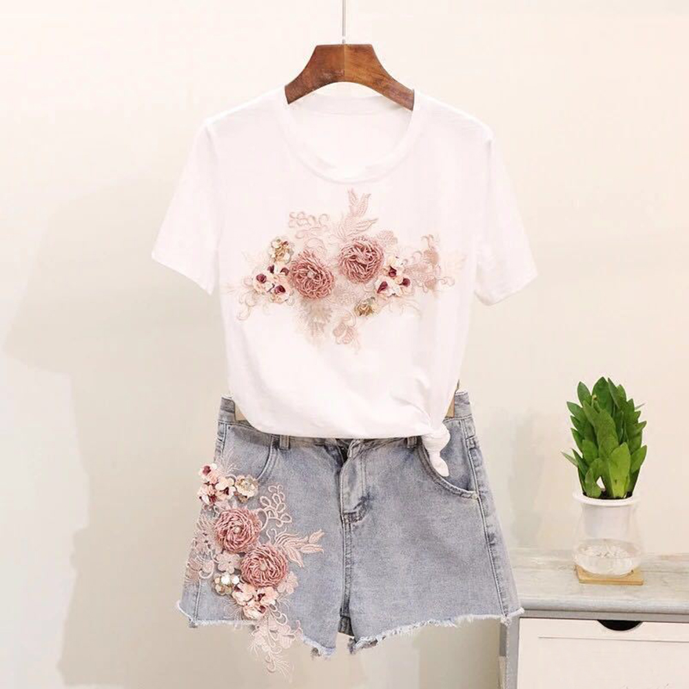 Handmade Color Flowers DIY Hand-sewn Jeans Skirt Cloth Fashion Wild Decoration Clothing Accessories Personality Casual Women