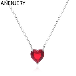 ANENJERY 925 Sterling Silver Love Heart Pendant Necklace Red Cubic Zircon Necklace For Women Jewelry Wholesale S-N621