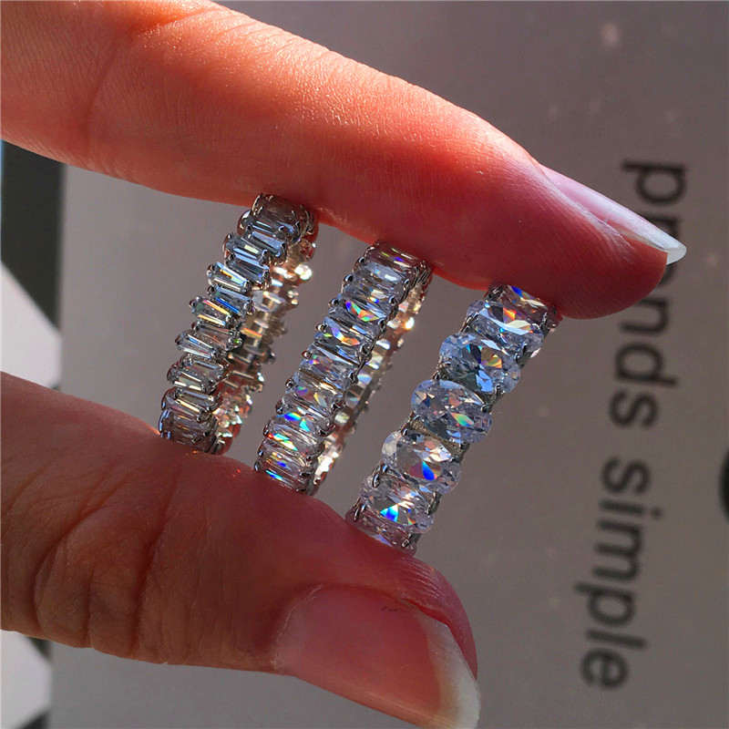 Luxury Female Smal Lab CZ Stone Ring 100% Real 925 Sterling Silver Engagement Ring Vintage Party Wedding Rings For Women