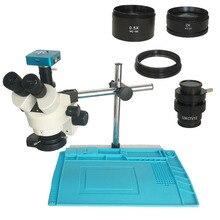 Nave da Usa Spagna 34MP Fotocamera Microscopio Digitale 3.5X 90X Simul Focale Trinoculare Stereo Microscopio Saldatura Pcb di Riparazione Del Telefono