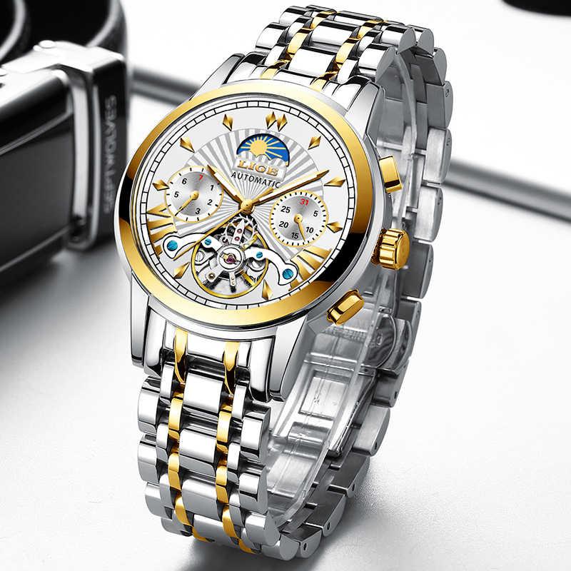 LIGE Fashoin nouveau hommes montres haut de gamme de luxe automatique mécanique Tourbillon montre hommes en acier inoxydable étanche montre-bracelet