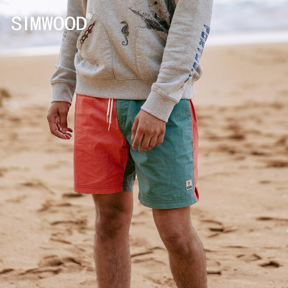 SIMWOOD 2020 Fashion Contrast Color Shorts Men Casual Beach Shorts Plus Size Patchwork Panelled Brand Clothing SJ150149