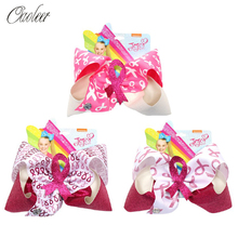 3 Pcs/Lot 7 JOJO siwa Hair Bows Breast Cancel Awareness BOWS for Girls Pink Ribbon Glitter Hairpins Kids Accessories