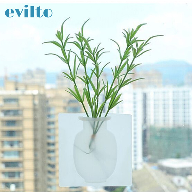evilto Silicone Sticky Vase Magic Rubber Flower Plant Vases Flower Container For Office Wall Vases Decoration Home 2