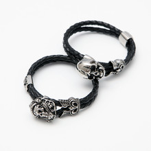 Stainless Steel Pirate Skull Love Bangles Black Leather Rope Skull Head Glamour Clearance Dropshipping(China)