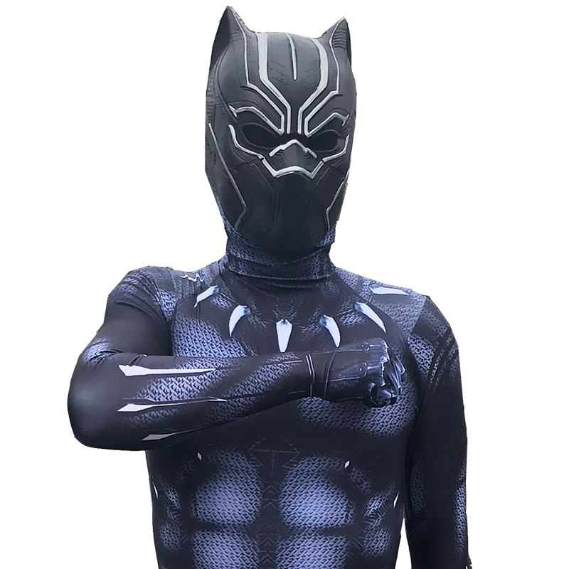New 2018 Black Panther Costume Jumpsuits Boys Men  Movie Captain America Cosplay Male Clothing Bodysuit Halloween Costumes 4
