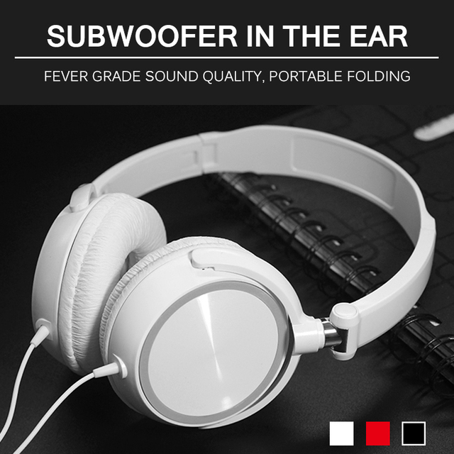 New HD Sound Wired Headphones Over Ear Headsets Bass HiFi Sound Music Stereo Earphone Flexible Adjustable Headset 2