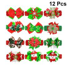 12pcs Christmas Bowknot Hair Clips Colorful Headdress Baby Barrettes Grosgrain Ribbon Accessories Hair Band Hair Pin(China)