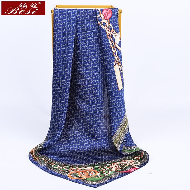 BOSI 2020 Silk Scarf For Women Fashion Red Satin Scarf Plaid Stripes Print Luxury Brand Chain Shawl Square GG Scarves Wholesale
