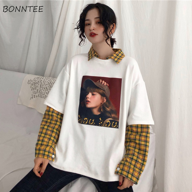 Hoodies Women Patchwork Plaid Simple Elegant Loose Harajuku Hip Hop Clothing Students BF Hoodie Womens Casual Pullover Chic Girl