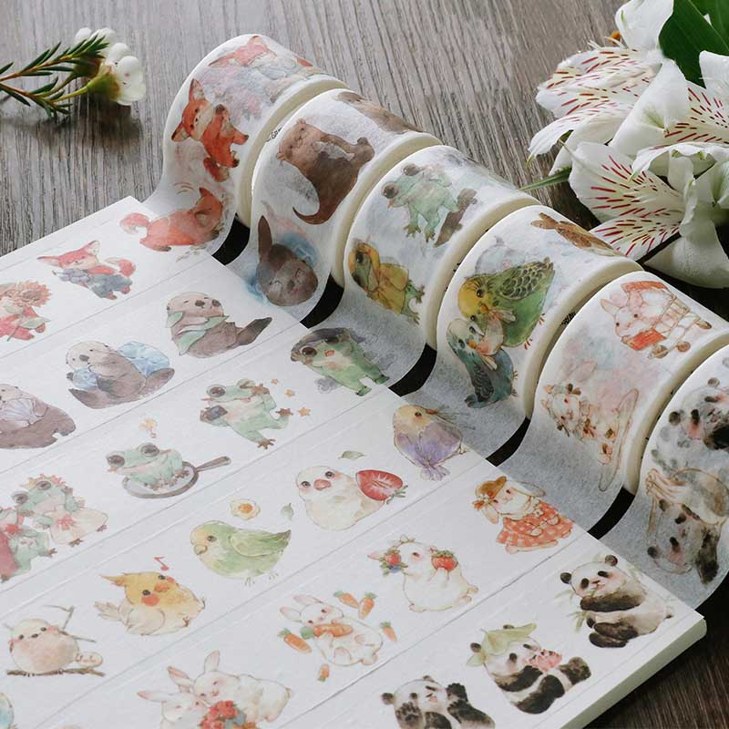 Lovely Animals Masking Tape Fox/Rabbit/Panda/Frog/Color Mushroom/Leaf/Fruit Washi Tape DIY Planner Diary Scrapbooking Escolar