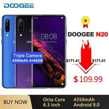 DOOGEE N20 cep telefonu parmak izi 6.3 inç FHD + ekran 16MP üçlü arka kamera 64GB 4GB MT6763 Octa çekirdek 4350mAh LTE cep telefonu