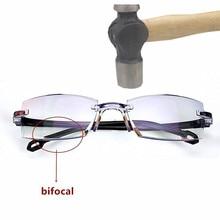 Очки для чтения без оправы для мужчин и женщин, бифокальные, дальние, близкие, анти-синий светильник, увеличительные очки, очки для дальнозоркости, диоптрий+ 150+ 200
