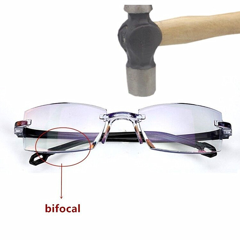 Men Women Rimless Reading Glasses Bifocal Far Near Anti Blue Light Magnification Eyewear Presbyopic Glasses Diopter +150 +200