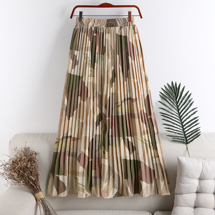 REALEFT New 2021 Vintage Floral Printed Tulle Pleated Mi-long Women Skirts High Waist Loose Female Umbrella Skirts Spring Summer